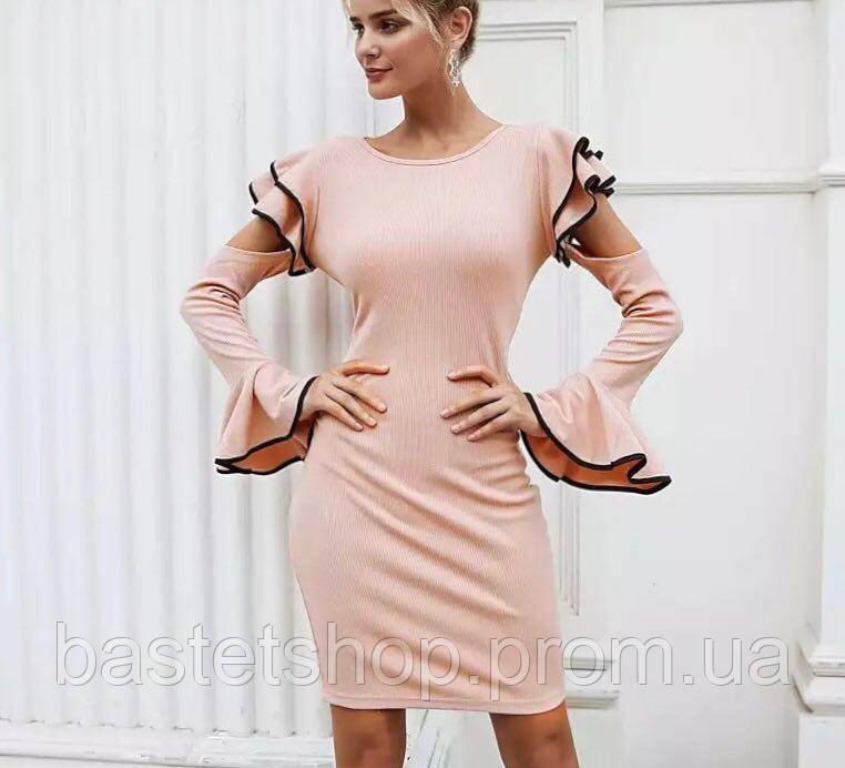 551a631c506bf5d Элегантное женское платье с открытыми плечами и оборками в обтяжку - BASTET  SHOP - интернет магазин