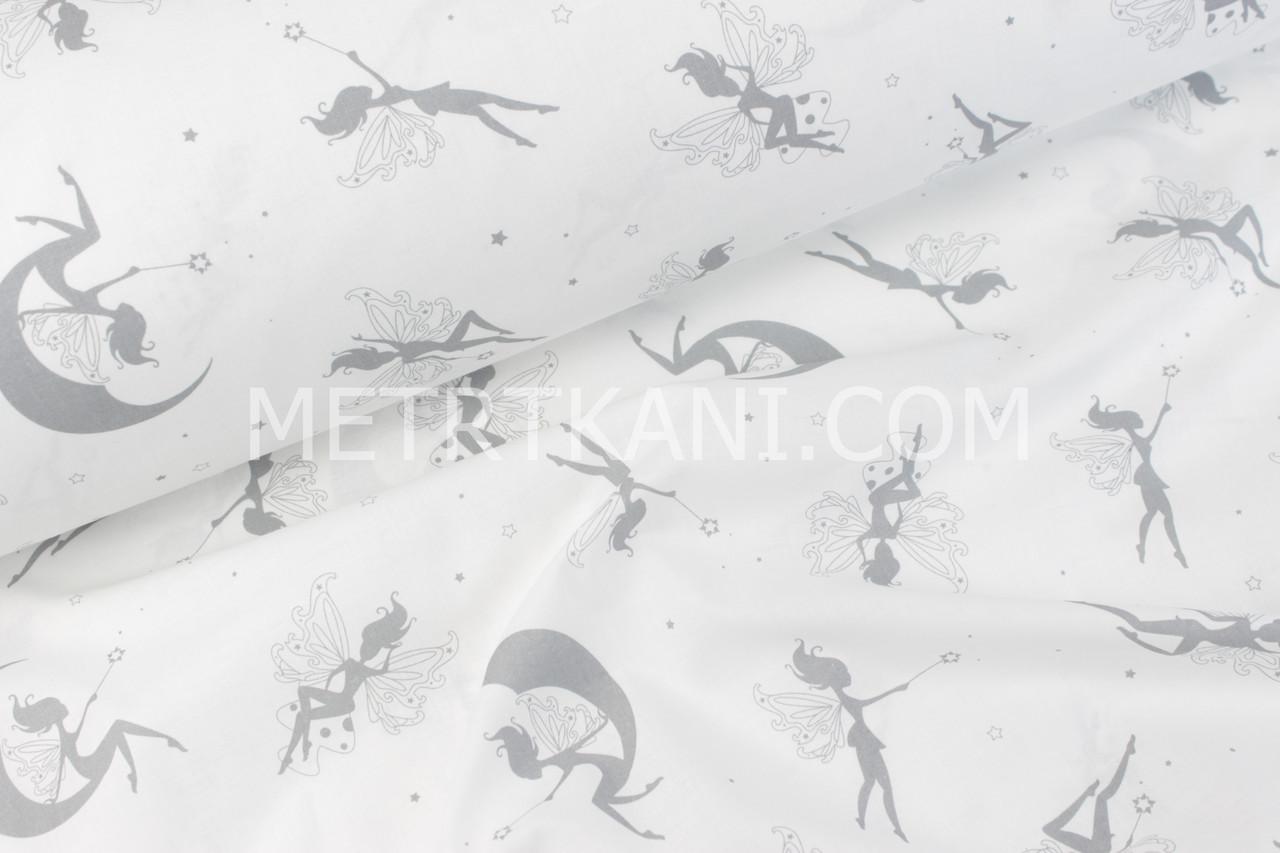 Ткань бязь с феями серого цвета на месяце   №546