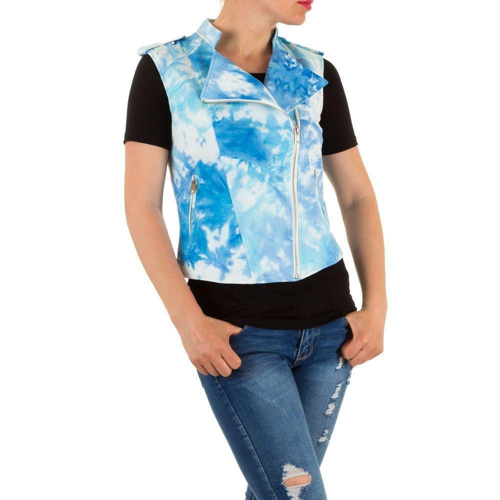 Женская жилетка косуха из экокожи от бренда Julie By Jcl (Франция), Голубой