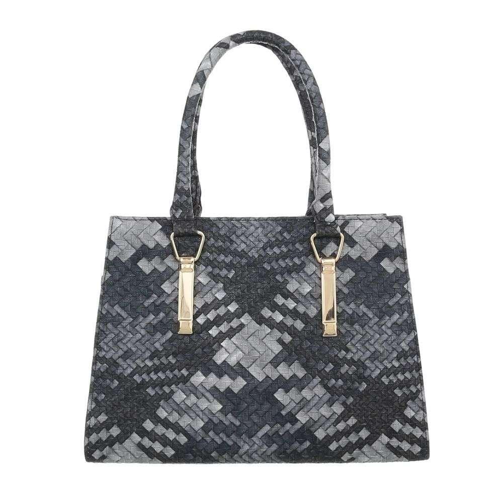 Женская сумка хенхелд из плетеной экокожи (Европа) Черный/Серый