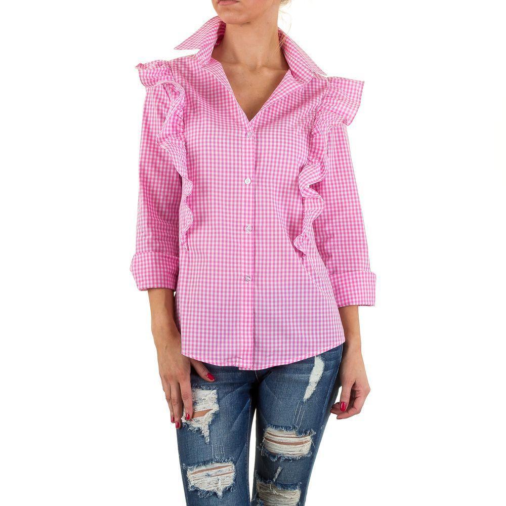 Женская рубашка в клетку с рюшами Shk Mode (Европа) Розовый