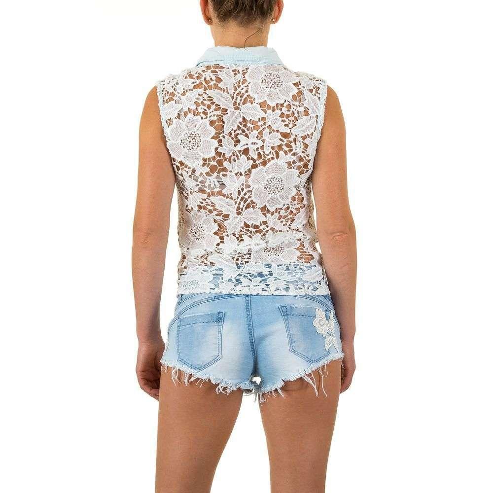 Джинсовая блуза с гипюром на завязках Realty Jeans (Европа) Голубой