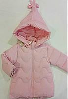 """Модная детская демисезонная куртка с капюшоном """"Горошек"""" р. 3-5 лет персик"""