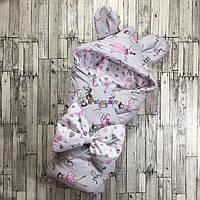 Конверт-одеяло с капюшоном и ушками, на синтепоне, Балеринки серый