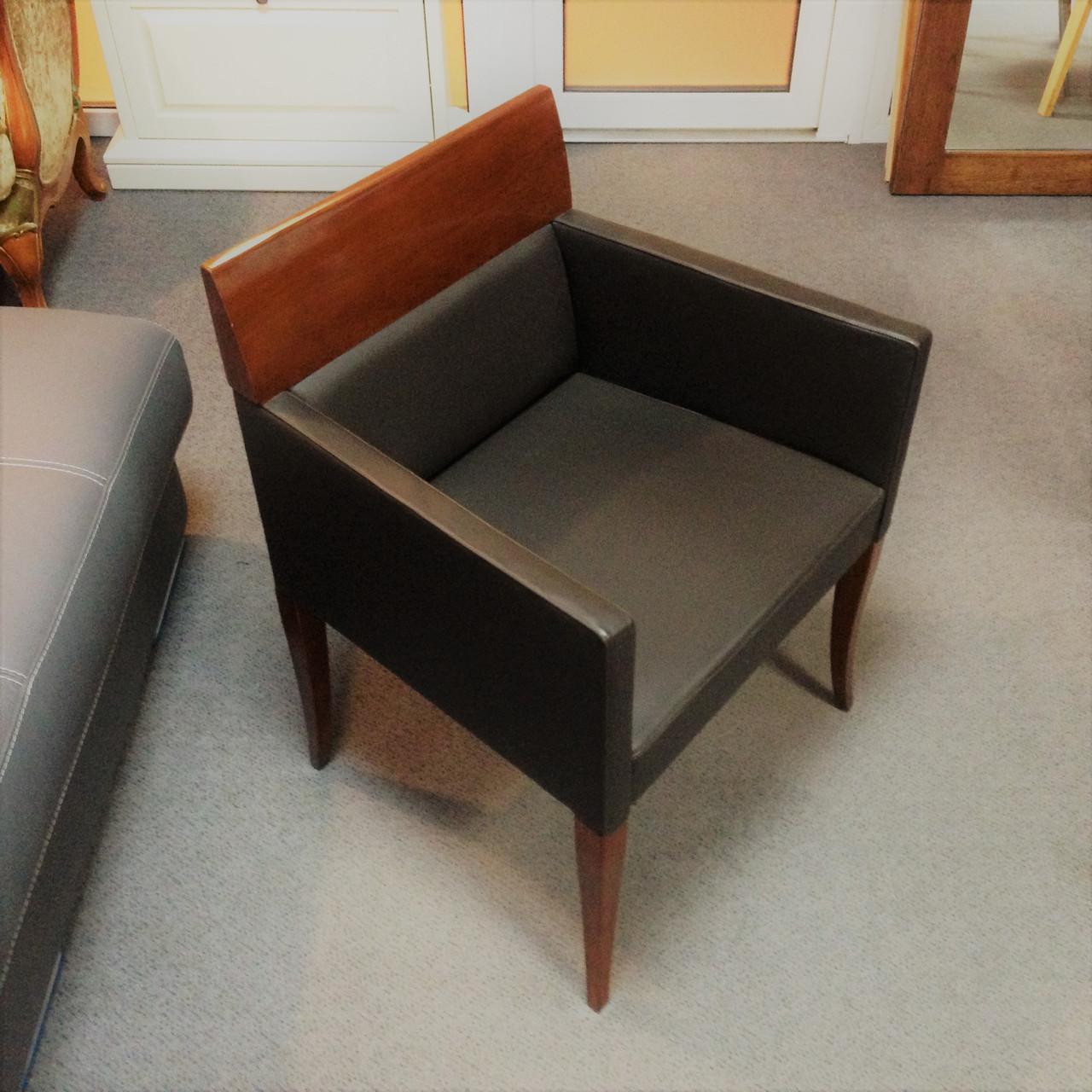 Кресло Selva, 1024 из кожи и дерева под орех