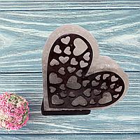 Соляная лампа «Сердце с узором» №1 (3-4 кг.)