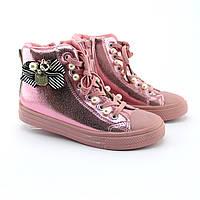 Детские высокие демисезонные кеды  ботинки весна осень розовые тм JG размер 33,34