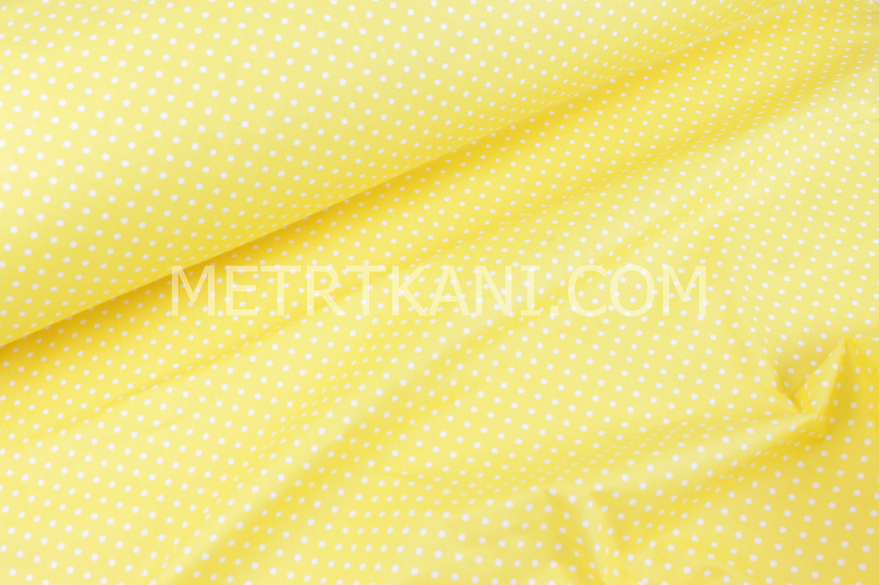 Ткань Бязь белый горох 4мм на желтом 135 г/м №651
