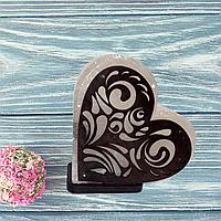 Соляная лампа «Сердце с узором» №2 (3-4 кг.)