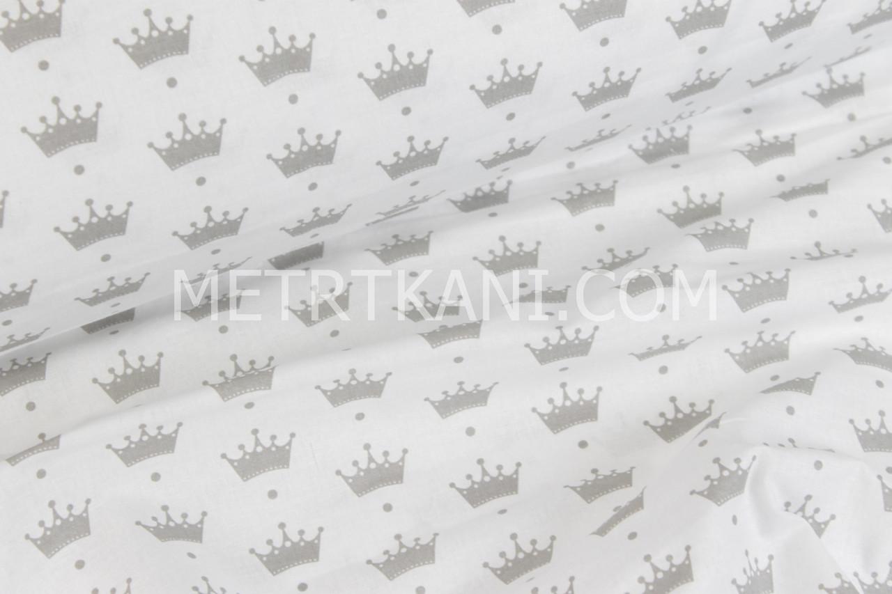 Польский хлопок серые короны с точкой на белом фоне