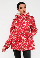 Женская демисезонная молодежная короткая куртка со звездами Modniy Oazis красная 90224/1, фото 1
