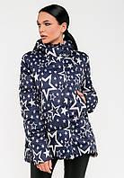 Женская демисезонная молодежная короткая куртка со звездами Modniy Oazis  синяя 90224/2