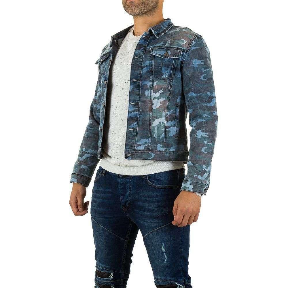 Джинсовая куртка мужская с камуфляжным принтом Uniplay (Европа) Синий