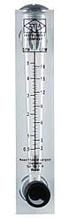 Ротаметр для води (2-18 л/хв) панельний з регулятором потоку