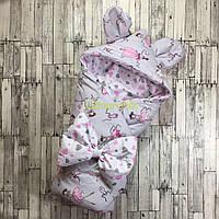 Конверт-одеяло с капюшоном и ушками, на синтепоне, Балеринка серый