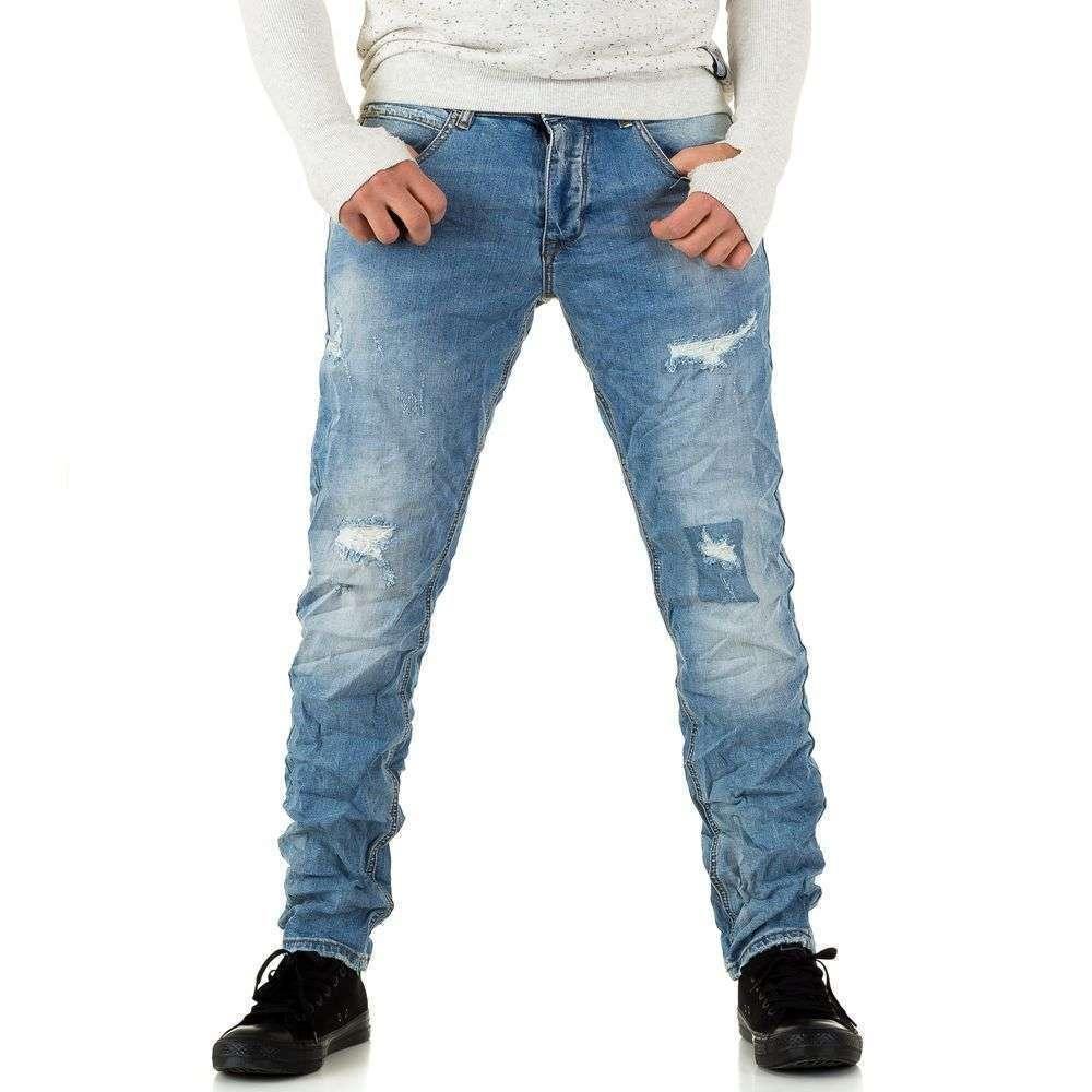 Мятые джинсы мужские Y.Two Jeans (Италия), Синий