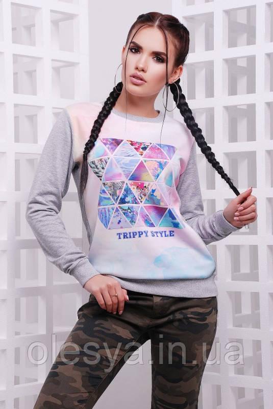 "Свитшот ""Cotton"" Trippy style, светло-серый"