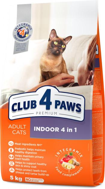 Сухой корм Клуб 4 Лапы Премиум Indoor 4 in 1, для домашних кошек, 5 кг