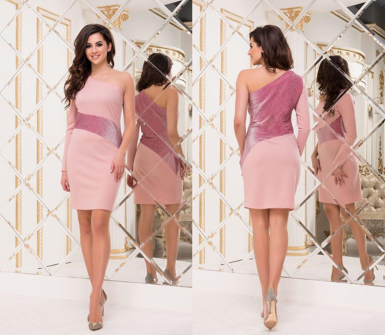 Платье вечернее NOBILITAS 40 - 46 розовое креп - дайвинг с люрексом (арт. 18052)