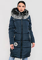 Длинная зимняя женская куртка с мехом на силиконе Modniy Oazis синяя 90245