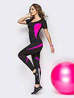 Комплект для фитнеса черный вставка фуксия (футболка+лосины)