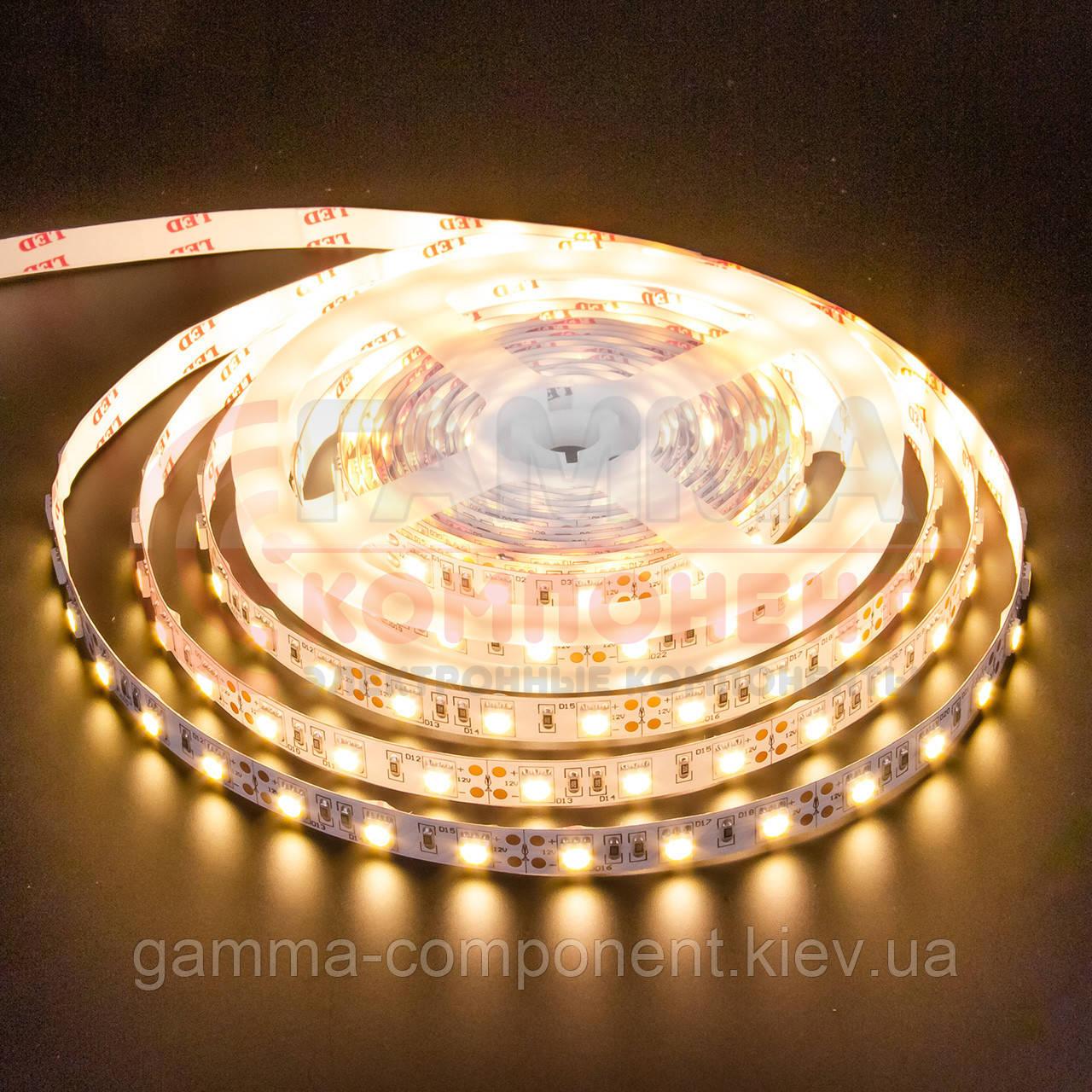 Светодиодная лента MOTOKO PREMIUM SMD 2835 (60 LED/м), теплый белый, IP20, 12В - бобины от 5 метров