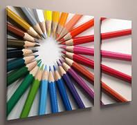 Картина модульная детская карандаши 100х60