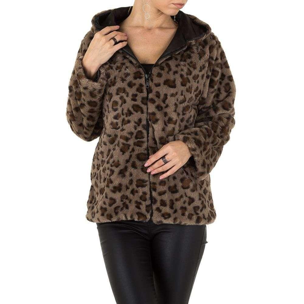 Женская плюшевая куртка с капюшоном Holala (Европа), Леопардовый