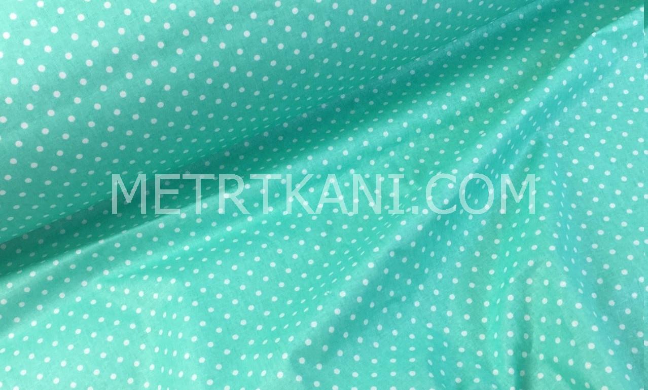 f09dbd29df9 Ткань хлопковая белая горох 4мм на мятном 135 г м №652 от интернет ...