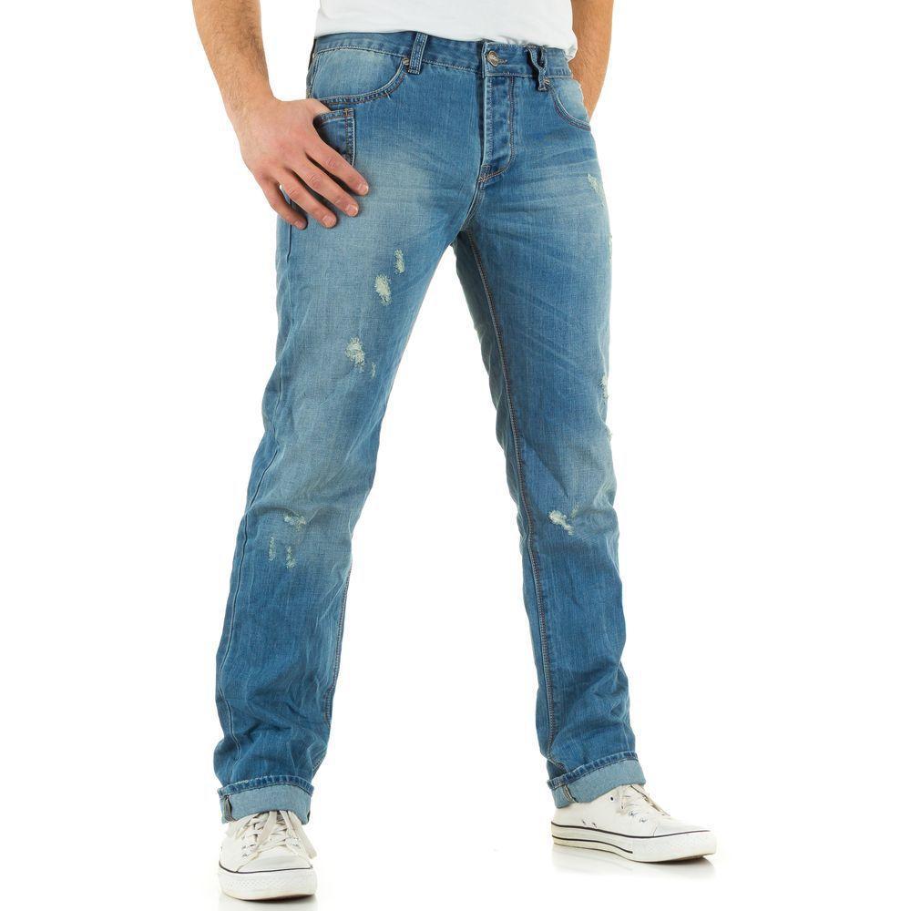 Классические потертые джинсы мужские Sixth June (Европа), Синий