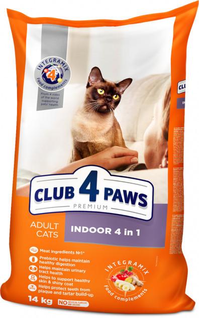 Сухой корм Клуб 4 Лапы Премиум Indoor 4 in 1, для домашних кошек, 14 кг