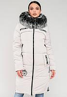 Длинная зимняя женская куртка с мехом на силиконе Modniy Oazis белая 90245/3
