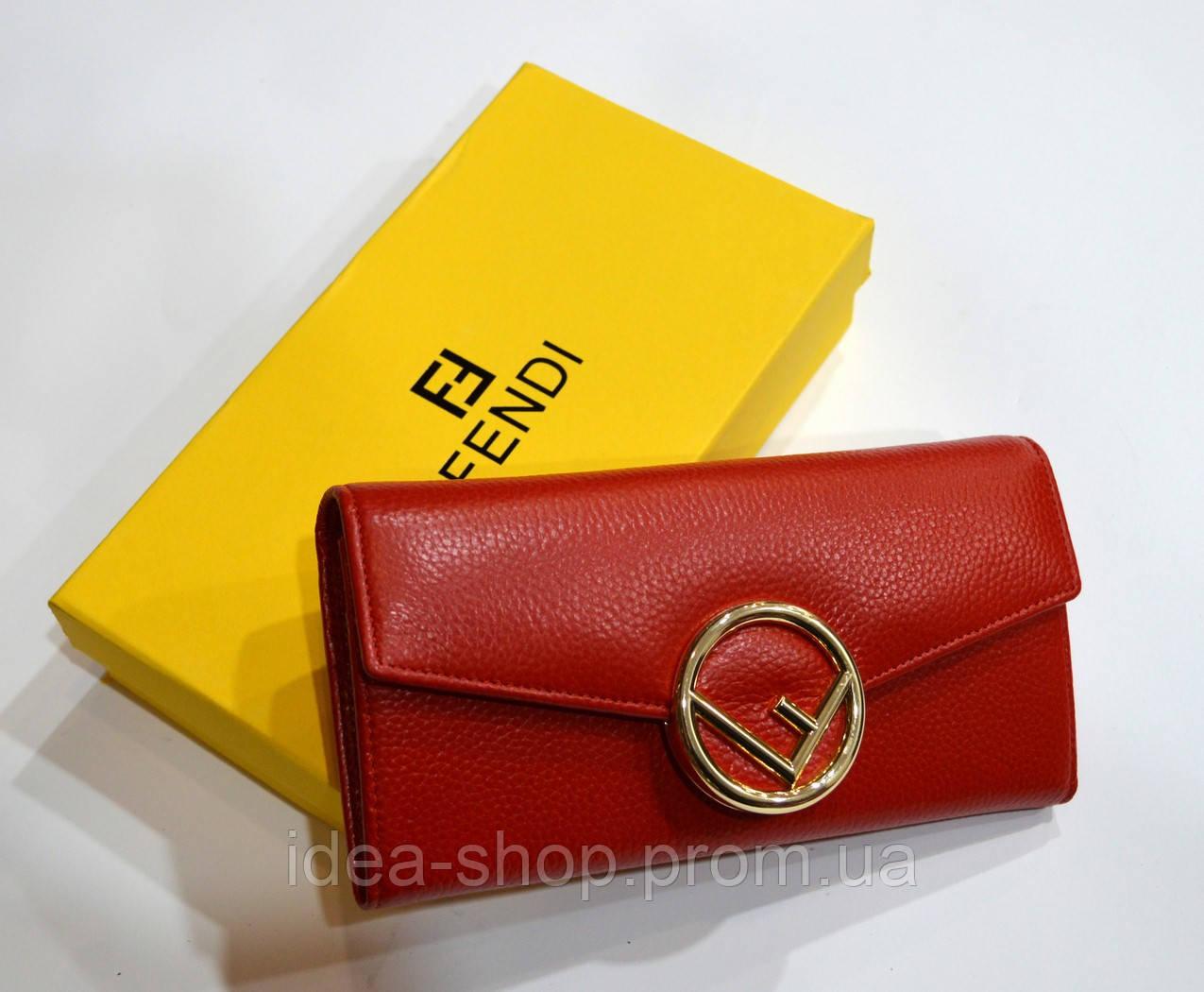 36a820acf2e3 Кошелек кожаный женский на магните FENDI реплика красный - интернет-магазин