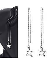 Сережки-протяжки сталеві «Морська зірка»