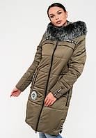 Длинная зимняя женская куртка с мехом на силиконе Modniy Oazis хаки 90245/2