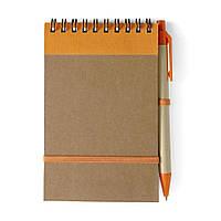 Эко блокнот А6 +ручка (оранжевые детали) от 100 шт