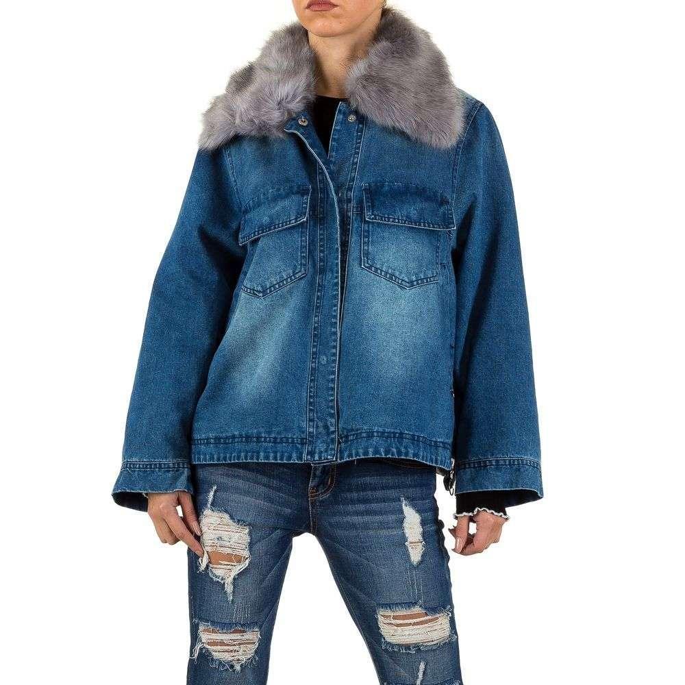 Джинсовая куртка с искусственным мехом (Европа), Синий
