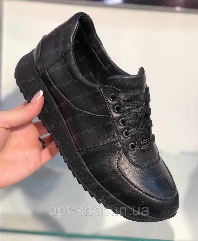 c87d9a96 Женские черные кожаные кроссовки - Интернет-магазин