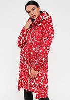 Модна довга зимова жіноча куртка з зірками на силіконі Modniy Oazis червона 90247/1, фото 1