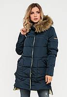 Зимняя женская куртка с мехом на силиконе Modniy Oazis  синяя 90248