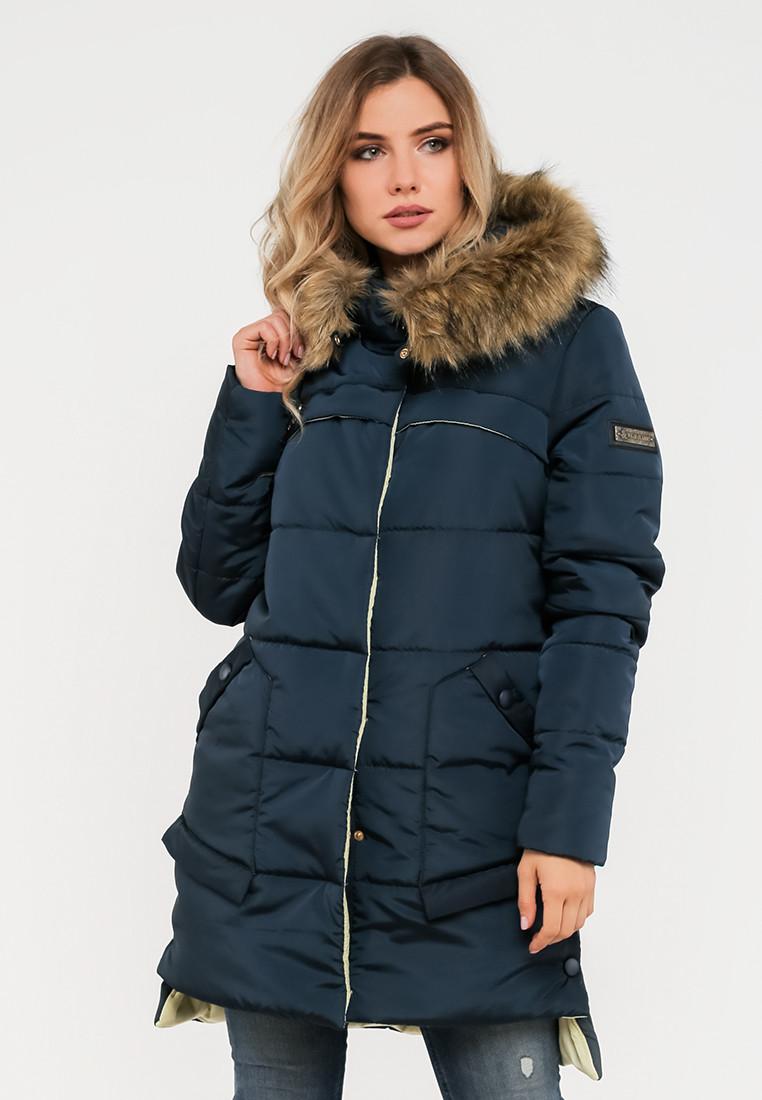Зимняя женская куртка с мехом на силиконе Modniy Oazis  синяя 90248, фото 1