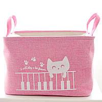 Корзина для игрушек на завязках Кот Пианист, розовый Berni