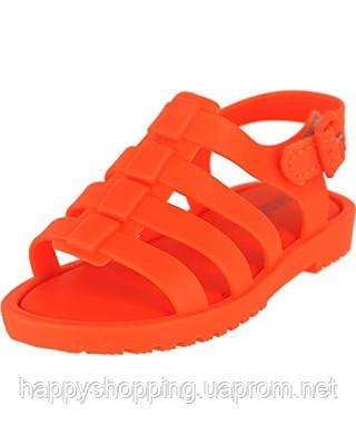 Детские оригинальные пахнущие силиконовые неоновые оранжевые босоножки на липучке Melissa Mini