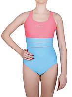 Купальник спортивный подростковый для плавания Rivage line 2081, розово-голубой