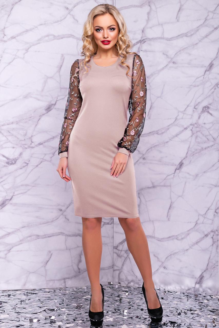 47eb0383f4255d4 🔥Вечернее платье кофейного цвета с вышивкой / Размер M L XL XXL / Код  P26А6В1 -