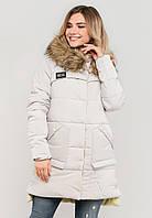 Зимова жіноча куртка з хутром на силіконі Modniy Oazis біла 90248/2, фото 1