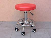 Стул мастера маникюра и педикюра красный на колесиках с подъемником