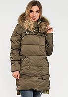 Зимняя женская куртка с мехом на силиконе Modniy Oazis хаки 90248/3