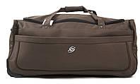 Прочная дорожная сумка саквояж на колесиках с плотной ткани art. 261 №1 коричневая (102924)