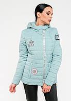 Демисезонная женская короткая куртка с нашивками в нежных оттенках Modniy Oazis бирюзовая 90279/2, фото 1